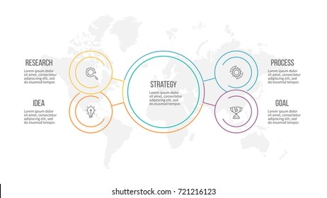 Outline infographic. Organization chart with 4 options, sections. Vector template.