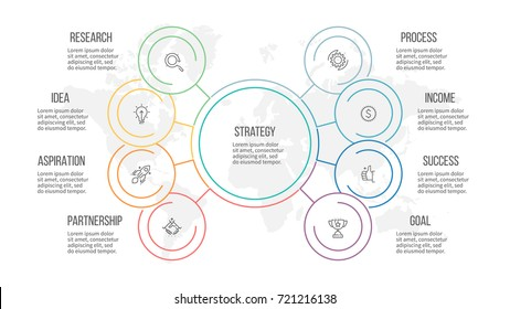 Outline infographic. Organization chart with 8 options, sections. Vector template.