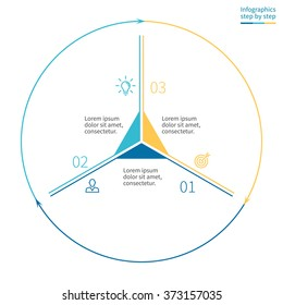 Outline infographics with triangle in center. Linear pie chart, diagram, scheme, graph with 3 steps, options, parts, processes with arrows. Vector thin line design element.