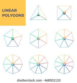 Outline infographics. Triangle, square, pentagon, hexagon, heptagon, octagon, enneagon, decagon. Linear diagrams with 3, 4, 5, 6, 7, 8, 9, 10 parts. Vector templates.