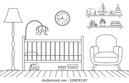 Outline interior of the children's room. Vector illustration. Linear style.