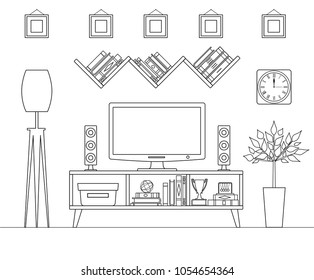 Outline interior. Vector tv zone. Linear room with furniture and TV.