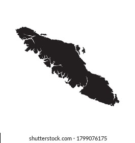 Outline, isolated map of Vancouver island