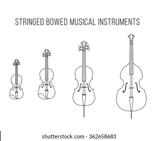 Outline isolated vector stringed bowed musical instruments: Bass, cello, viola, violin. Classical string. White