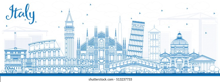 Outline Italy Skyline with Blue Landmarks. Vector Illustration. Business Travel and Tourism Concept with Historic Architecture. Image for Presentation Banner Placard and Web Site.