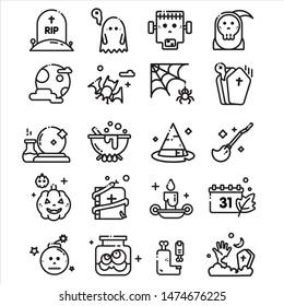 ็Halloween outline item icon design