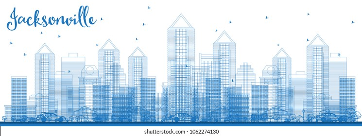 Outline Jacksonville Florida USA City Skyline with Blue Buildings. Vector Illustration. Business Travel and Tourism Concept with Modern Architecture. Jacksonville Cityscape with Landmarks.