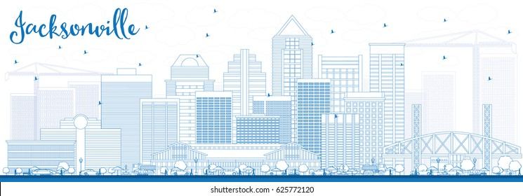 Outline Jacksonville Skyline with Blue Buildings. Vector Illustration. Business Travel and Tourism Concept with Modern Architecture. Image for Presentation Banner Placard and Web Site.
