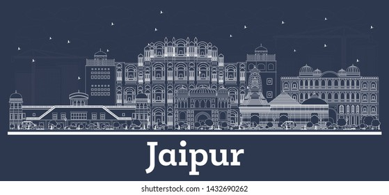 Outline Jaipur India City Skyline with White Buildings. Vector Illustration. Business Travel and Tourism Concept with Historic Architecture. Jaipur Cityscape with Landmarks.