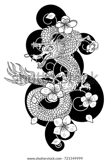 Outline Japanese Dragon Flower Tattoo Style Stock Vector Royalty