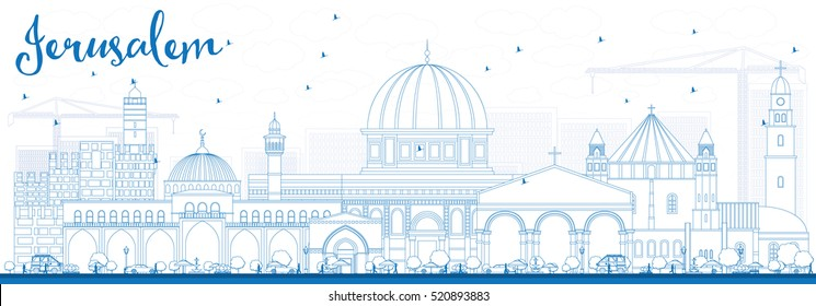 Outline Jerusalem Skyline with Blue Buildings. Vector Illustration. Business Travel and Tourism Concept with Historic Architecture. Image for Presentation Banner Placard and Web Site