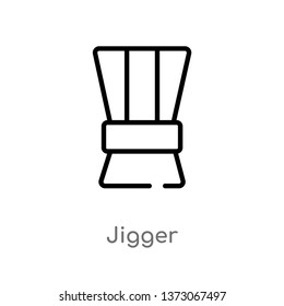 outline jigger vector icon. isolated black simple line element illustration from drinks concept. editable vector stroke jigger icon on white background