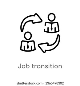 outline job transition vector icon. isolated black simple line element illustration from user interface concept. editable vector stroke job transition icon on white background