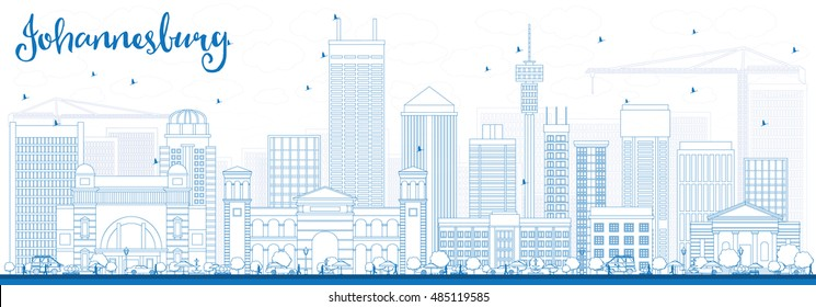 Outline Johannesburg Skyline with Blue Buildings. Vector Illustration. Business Travel and Tourism Concept with Johannesburg Modern Buildings. Image for Presentation and Banner.