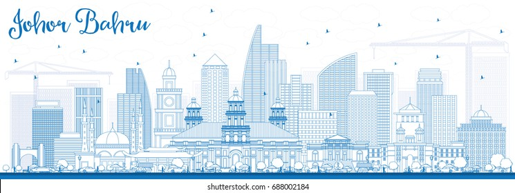 Outline Johor Bahru Malaysia Skyline with Blue Buildings. Business Travel and Tourism Vector Illustration with Modern Architecture. Image for Presentation Banner Placard and Web Site.
