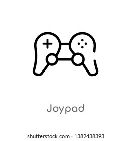 outline joypad vector icon. isolated black simple line element illustration from electronic stuff fill concept. editable vector stroke joypad icon on white background