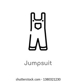 outline jumpsuit vector icon. isolated black simple line element illustration from clothes concept. editable vector stroke jumpsuit icon on white background
