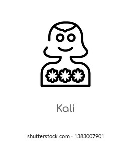 outline kali vector icon. isolated black simple line element illustration from india concept. editable vector stroke kali icon on white background