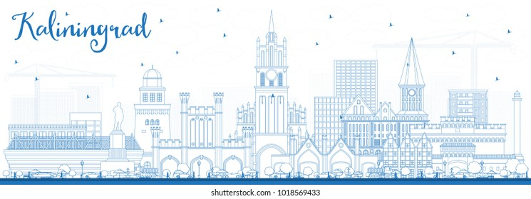 Outline Kaliningrad Russia City Skyline with Blue Buildings. Vector Illustration. Business Travel and Tourism Concept with Historic Architecture. Kaliningrad Cityscape with Landmarks.
