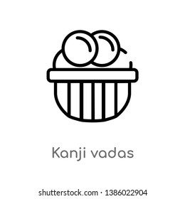 outline kanji vadas vector icon. isolated black simple line element illustration from india and holi concept. editable vector stroke kanji vadas icon on white background