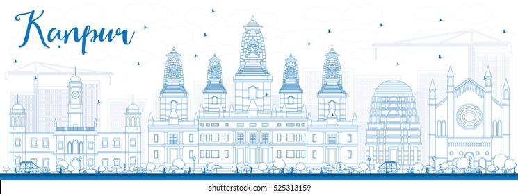 Outline Kanpur Skyline with Blue Buildings. Vector Illustration. Business Travel and Tourism Concept with Historic Architecture. Image for Presentation Banner Placard and Web Site