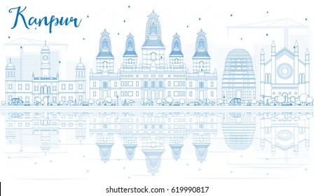 Outline Kanpur Skyline with Blue Buildings and Reflections. Vector Illustration. Business Travel and Tourism Concept with Historic Architecture. Image for Presentation Banner Placard and Web Site.
