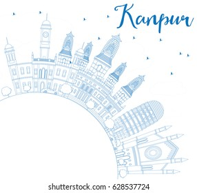 Outline Kanpur Skyline with Blue Buildings and Copy Space. Vector Illustration. Business Travel and Tourism Concept with Historic Architecture. Image for Presentation Banner Placard and Web Site.