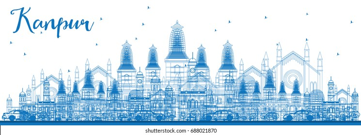 Outline Kanpur Skyline with Blue Buildings. Business Travel and Tourism Vector Illustration with Historic Architecture. Image for Presentation Banner Placard and Web Site