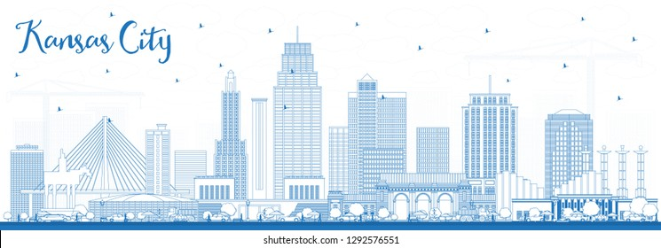 Outline Kansas City Missouri Skyline with Blue Buildings. Vector Illustration. Business Travel and Tourism Concept with Modern Architecture. Kansas City Cityscape with Landmarks.