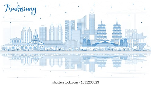 Outline Kaohsiung Taiwan City Skyline with Blue Buildings and Reflections. Vector Illustration. Travel and Tourism Concept with Historic Architecture. Kaohsiung China Cityscape with Landmarks.