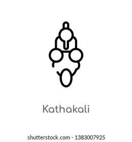 outline kathakali vector icon. isolated black simple line element illustration from india concept. editable vector stroke kathakali icon on white background