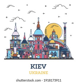 Outline Kiev Ukraine City Skyline with Colored Historic Buildings Isolated on White. Vector illustration. Kiev Cityscape with Landmarks.