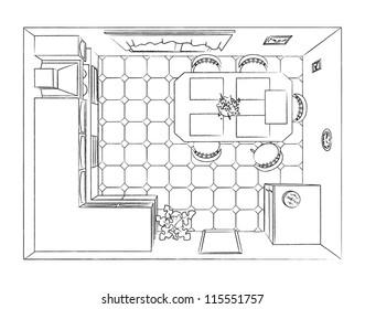 Outline kitchen interior top view