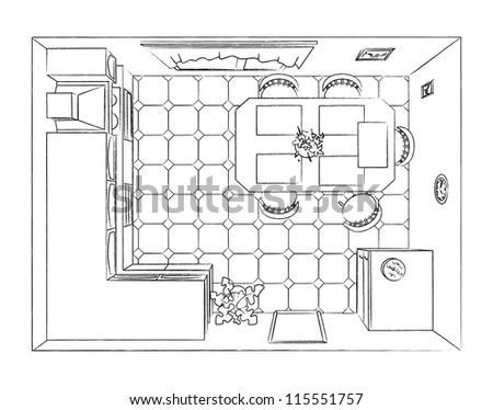 Outline Kitchen Interior Top View Stock Vector Royalty Free