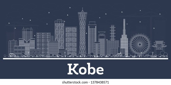 Outline Kobe Japan City Skyline with White Buildings. Vector Illustration. Business Travel and Concept with Modern Architecture. Kobe Cityscape with Landmarks.