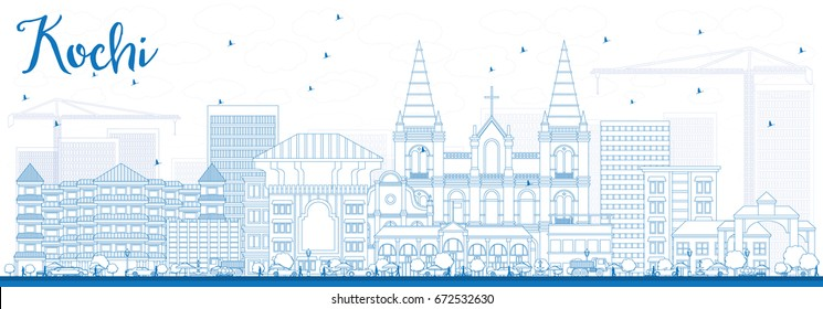 Outline Kochi Skyline with Blue Buildings. Vector Illustration. Business Travel and Tourism Concept with Historic Architecture. Image for Presentation Banner Placard and Web Site.