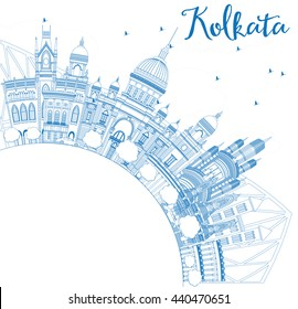 Outline Kolkata Skyline with Blue Landmarks and Copy Space. Vector Illustration. Business Travel and Tourism Concept with Historic Buildings. Image for Presentation Banner Placard and Web Site.