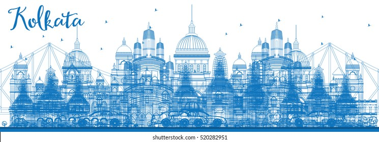 Outline Kolkata Skyline with Blue Landmarks. Vector Illustration. Business Travel and Tourism Concept with Historic Architecture. Image for Presentation Banner Placard and Web Site.