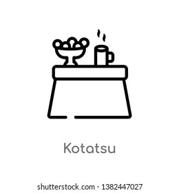 outline kotatsu vector icon. isolated black simple line element illustration from furniture and household concept. editable vector stroke kotatsu icon on white background