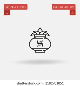 Outline Kumbh Kalash icon isolated on grey background. Line pictogram. Premium symbol for website design, mobile application, logo, ui. Editable stroke. Vector illustration. Eps10