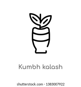 outline kumbh kalash vector icon. isolated black simple line element illustration from india concept. editable vector stroke kumbh kalash icon on white background