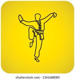 Outline of a kung-fu master posing. Vector illustration.