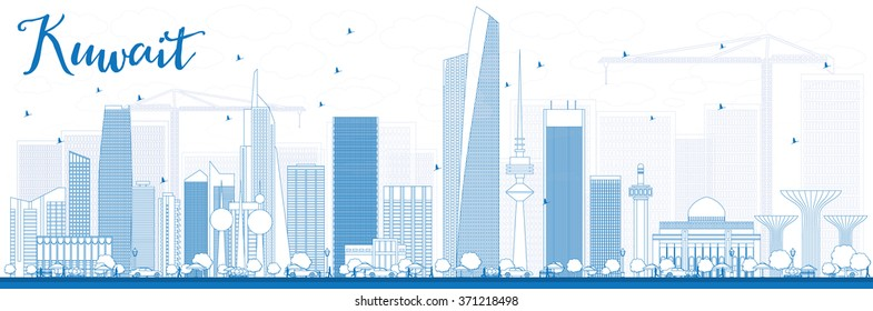 Outline Kuwait City Skyline with Blue Buildings. Vector Illustration. Business Travel and Tourism Concept with Modern Buildings. Image for Presentation Banner Placard and Web Site.