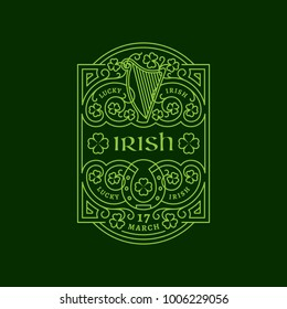Outline label with harp, horseshoe, shamrock leaves, floral ornament. Vector illustration.