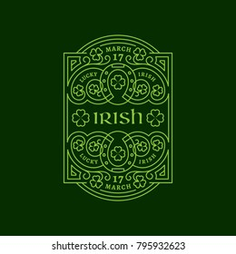 Outline label with horseshoes, shamrock leaves, floral ornament. Vector illustration.