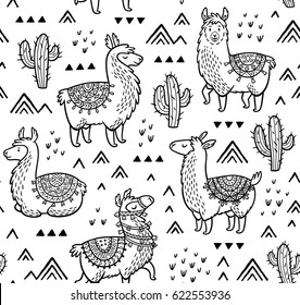 Outline Lamas seamless pattern. Ink vector illustration. Coloring book