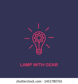 Outline lamp with gear icon.lamp with gear vector illustration. Symbol for web and mobile