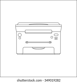 Outline laser printer vector illustration