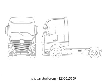 Outline layout of the truck. Mercedes Actros truck.