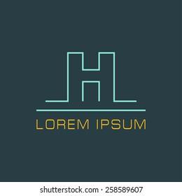 Outline letter H for logo design your company. Vector illustrations.